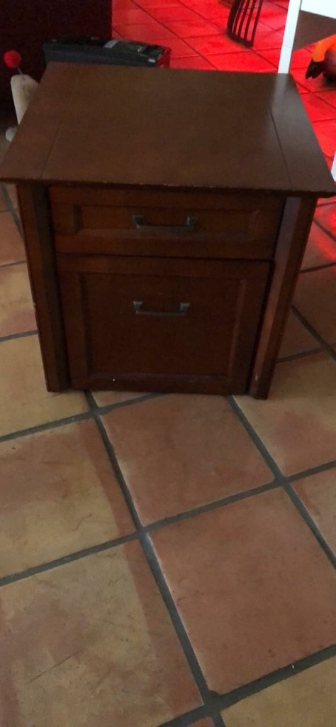 Small 2 Drawer Wood File Cabinet. Cherry Finish, Good Condition