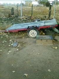 black and red flatbed trailer