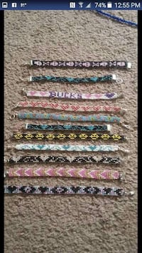 homemade beaded jewelry... (brackets, chokers,necklaces,keychains... etc... prices $15 and up. CUSTOM DESIGNS !