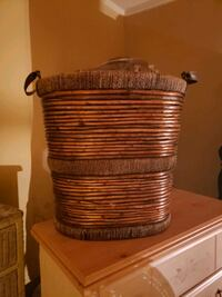 huge basket with leather straps and woven thread. Hagerstown, 21740