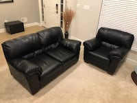 Black leather loveseat and chair Hyattsville