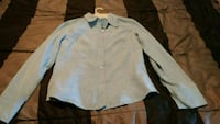 Bluish/grey button up long sleeve shirt