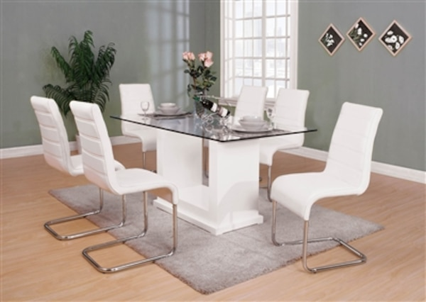 Eva Collection 7 Piece White Contemporary Dining Set NO CREDIT CHECK Financing Available 39