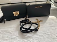 Authentic Michael kors 2 in 1 purse wallet on chain black and gold new  Toronto, M3N