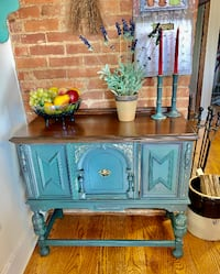 Hand Painted Refinished Jacobean Buffer Sideboard Console Derwood