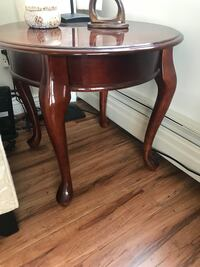 round brown wooden framed glass top side table Burnaby, V5A 4H5