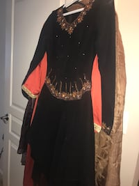 Black and brown long-sleeved dress