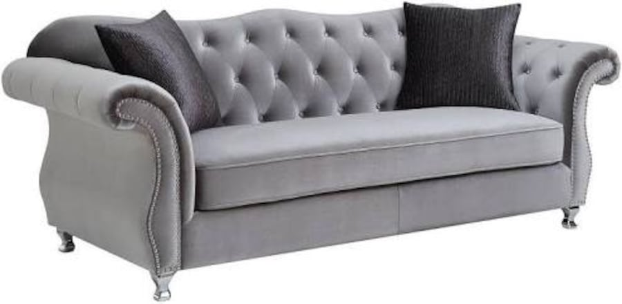 Silver Grey Vintage Luxury Sofa Tufted  with Rhinestones and HardNails 577561a1-a165-48f4-ae02-00188f9651a8