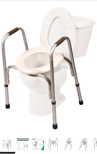 PCP Raised Toilet Seat with Safety Frame Two-in-One, Silver Frost Toronto, M3K 1H5