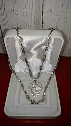 silver Sweet 16 necklace with pendant in box