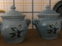 two gray and black ceramic jars Whiting, 08759