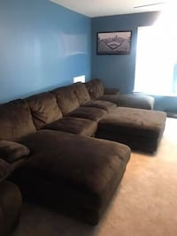 Microfiber Sectional and Ottoman (ottoman can be sold separately)