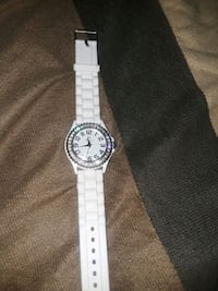 round silver-colored analog watch with white strap Los Angeles, 91304