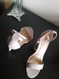 White leather open-toe ankle strap pumps