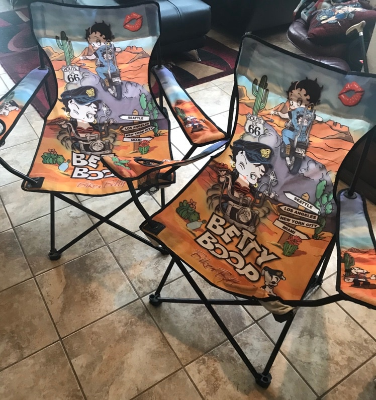 2 Betty Boop Biker Folding Chairs W/ Cup Holders.....Adorable!!!
