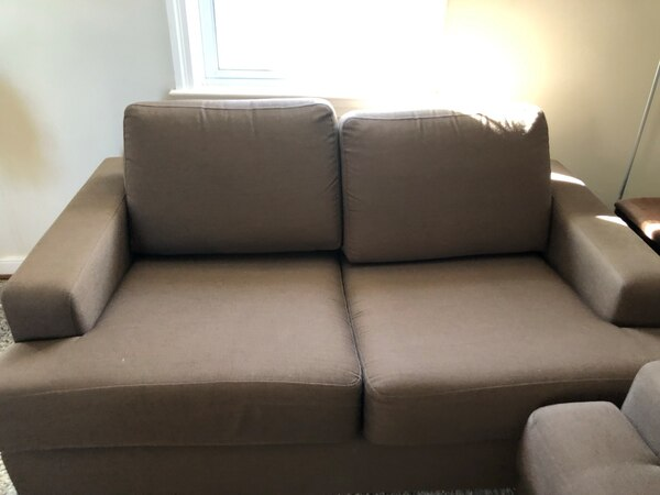 Gray fabric 2-seat sofa 65Lx42W