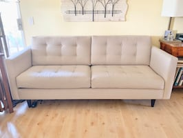 Taupe Tufted Sofa with Matching Chair