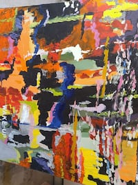 yellow, blue, and orange abstract painting Vaughan, L6A 2B6