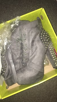 pair of gray suede platform silver spike-studded chunky-heeled ankle boots Myrtle Beach, 29579