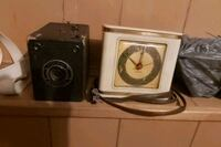 Old Conway camera &westclox table clock