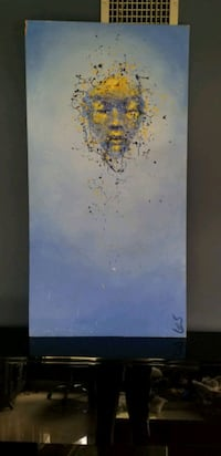 white and yellow abstract painting Miami, 33180