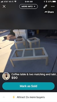 Coffee table with matching end tables Yuma