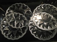 New Set of 4 Williams-Sonoma Heart Pattern Glass Dessert/Salad Plates (Vintage 1998) Washington, 20001