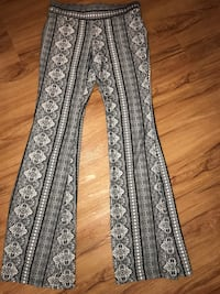 white and grey floral pants