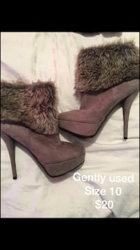 pair of women's gray suede fur-trimmed heeled booties
