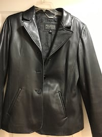 Women's black leather jacket