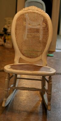 Vintage Shabby White Kids Rocking Chair with Cane Back Hicksville