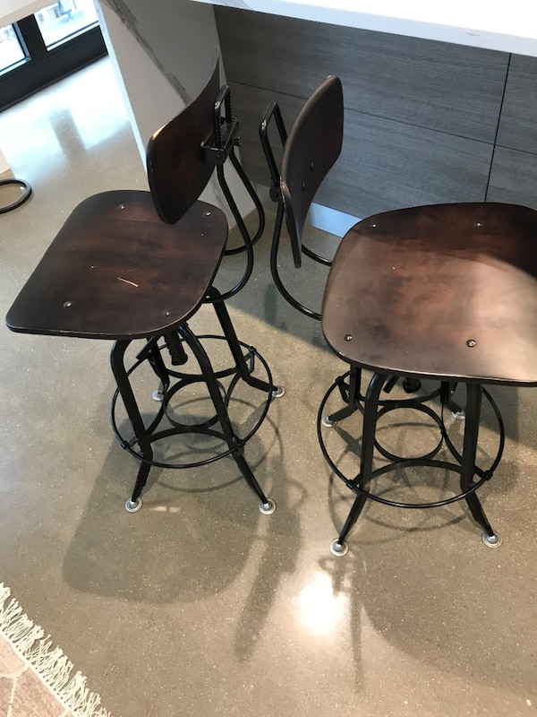 Two Restoration Hardware Vintage Toledo Bar Chairs 5a0f78a1-ed47-479c-b019-42d63f46dd69