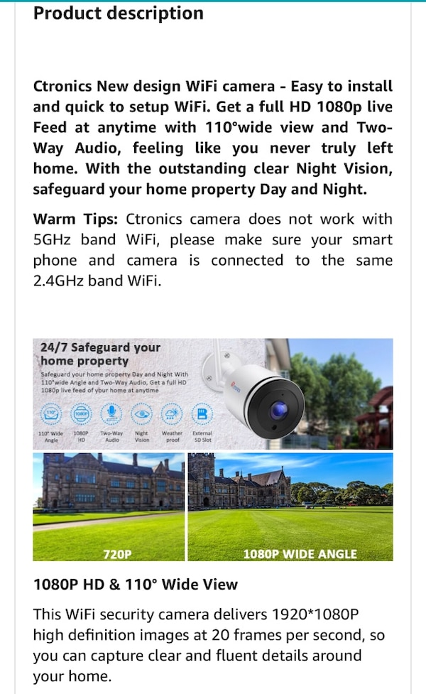 Ctronics WiFi Camera Outdoor, 1080P Wireless Security IP Camera with  110°Wide View, Two-Way Audio, Instant Notification of Motion Detection,  98ft