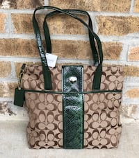 Brown and green coach purse. Still has original tag, never been used!