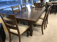 Solid wood dining table six with 2 leaf  Elgin