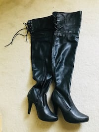 Knee high Steven madden black leather boots size 8 worn once in excellent condition Stamford, 06902