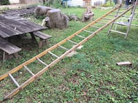Vintage WOOD ladder. Two, 15' sections. $45 each or both for $75. Firm.  Bexley, 43209