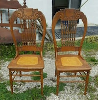 Antique Pr Hand Carved Oak Chairs Cained Seats Kansas City, 66109