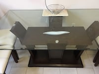 black wooden framed glass top TV stand Toronto, M1W