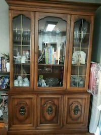 brown wooden framed glass china cabinet Mississauga, L5A 2E6
