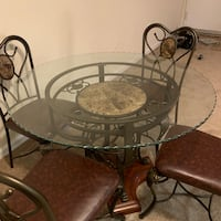 Round glass top table dining set Laurel, 20708