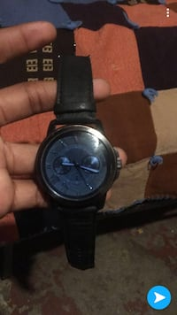 round black chronograph watch with black leather strap Des Moines, 50316