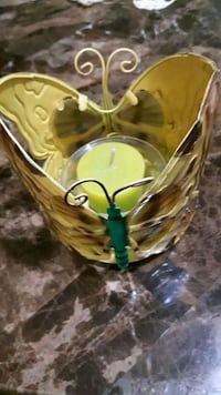 yellow and black butterfly shaped candle holder  London, N6K