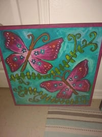 blue and red butterfly painting