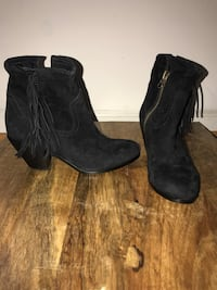 pair of black suede chunky heeled booties Warrenton, 20186