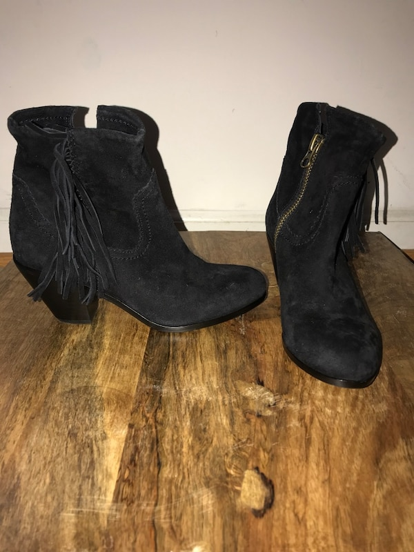 Sam Edelman pair of black suede chunky heeled booties