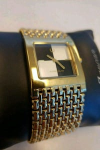 square gold analog watch with link bracelet Mississauga, L4Z 2G5