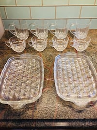clear cut glass punch bowl cups