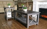 Rustic coffee table and 2 end tables set (solid wood, new)