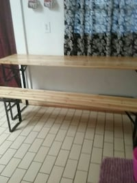 brown wooden table with black metal base Fresno, 93728